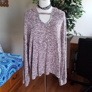 NWOT Juicy Couture hooded keyhole top XXL